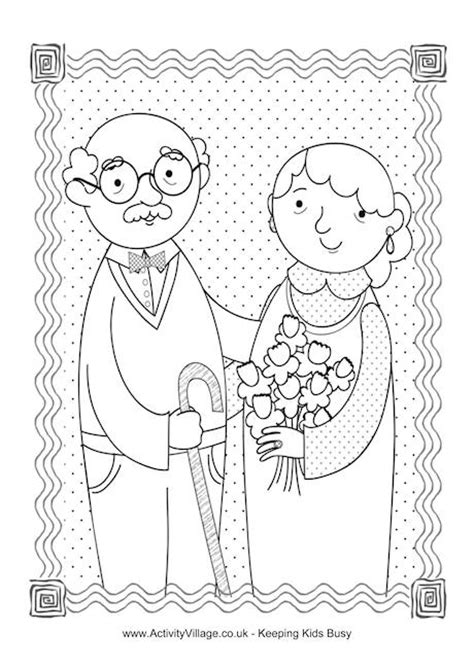 coloring page for grandparents day happy grandparents day colouring page kids pinterest