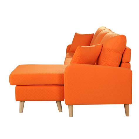 modern fabric small space sectional sofa  reversible chaise  orange ebay