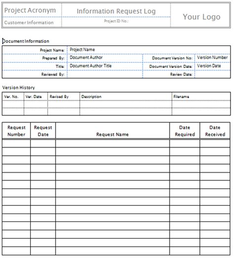 rfi log template request for information template sadamatsu hp