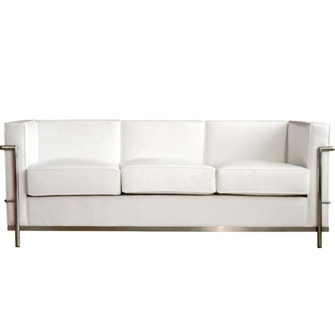 wholesale interiors le corbusier white leather sofa