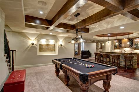 Kitchens Remodeling Ideas by Basement Pool Table Amp Bar Traditional Basement