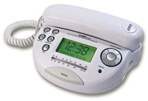 coby ct p650 phone with caller id and am fm dual alarm clock radio white corded