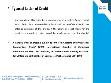 Letter Of Credit For Services Rendered Letter Of Credit Lc Presentation