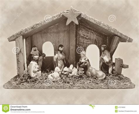 christmas nativity scene manger with figurines including