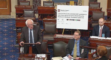 Us Senate Floor Plan bernie sanders makes big statement with oversized trump