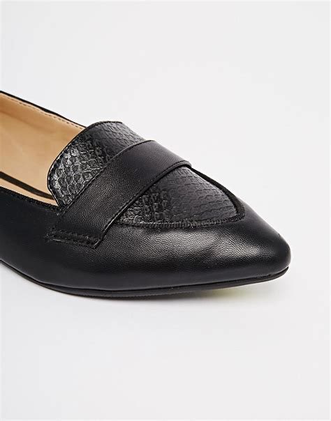 new look black flat shoes new look new look joan black croc pointed toe flat shoes