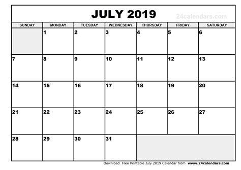 Calendar 2019 July July 2019 Calendar Printable