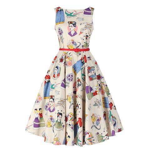 Summer Dress Vintage Look summer dress 50s pinup vintage hepburn style frida slash neck casual rockabilly