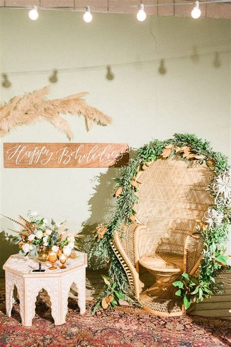 boho holiday party wedding party ideas  layer cake peacock chairs pinterest