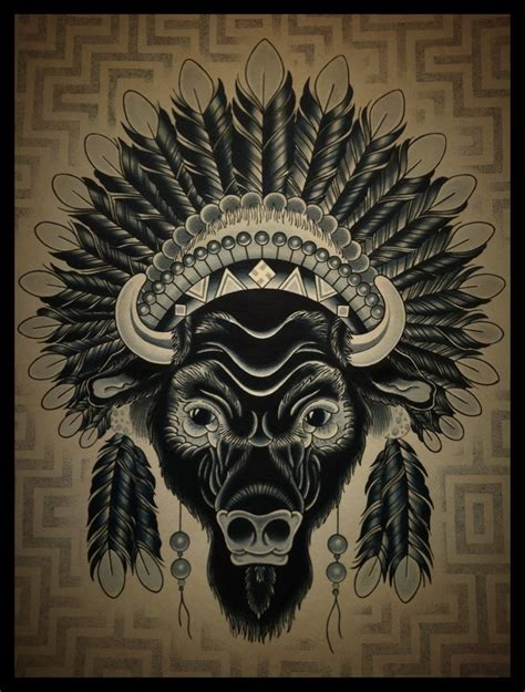 tribal buffalo tattoos buffalo headdress but i want more color