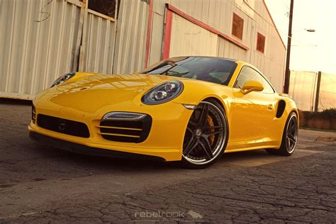 lowered porsche 911 porscheboost yellow 2014 porsche 911 991 turbo s