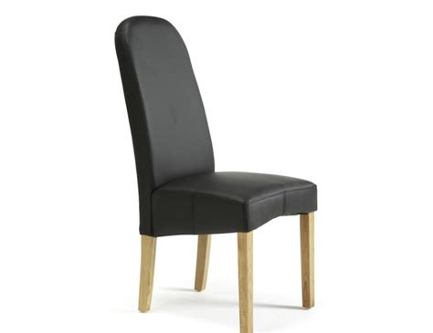 mursley black faux leather and oak dining chairs frances