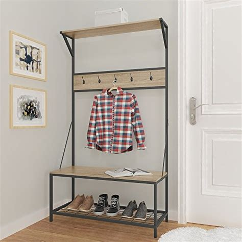 Entryway Shoe And Coat Storage Weathered Oak Metal Entryway Shoe Bench With Coat Rack