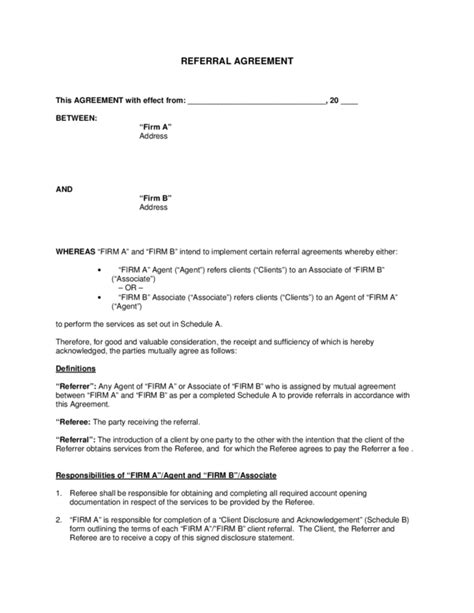 fee agreement template referral fee agreement 1 legalforms org