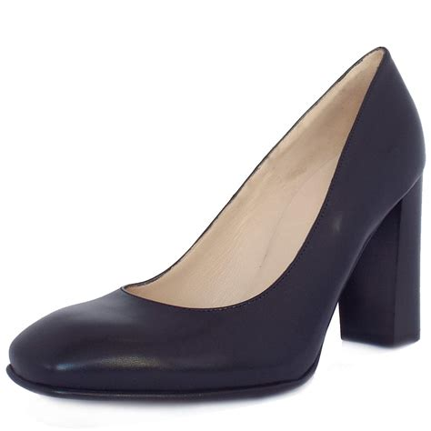 shoes with heels kaiser uk navy leather block heel pumps