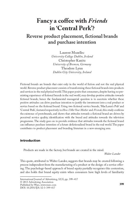 Letter Of Intent To Purchase Food Products Product Placement Fictional Brands And Purchase