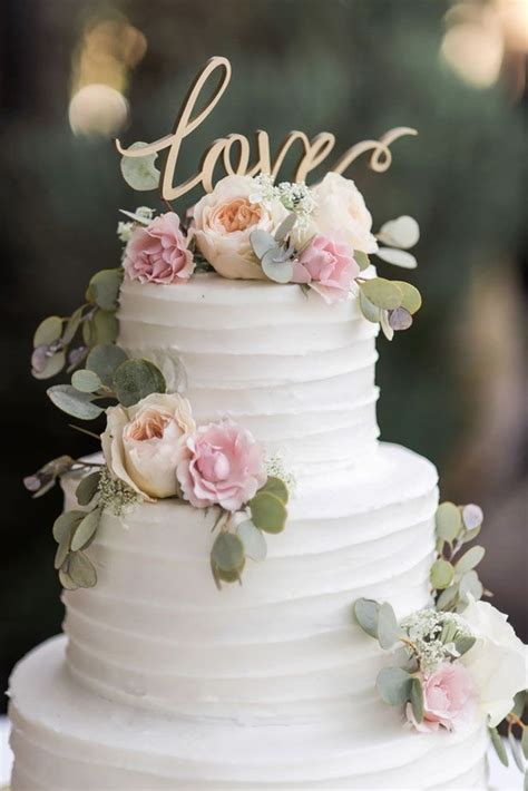 Flowers On Wedding Cakes by Classic Vineyard Wedding With A Touch Of Vintage
