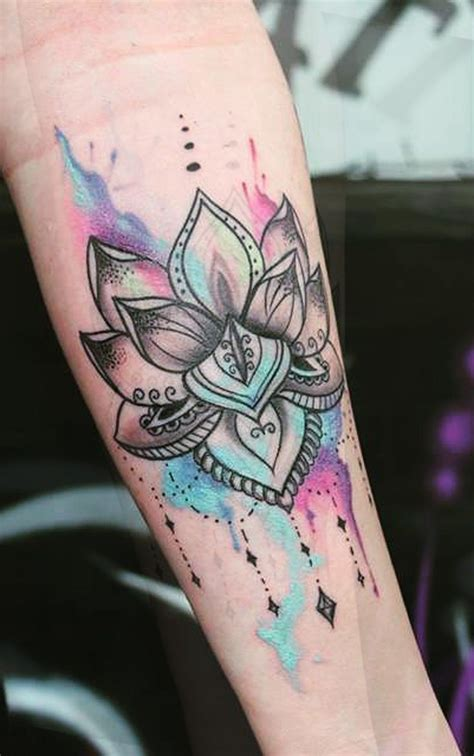 forearm tattoo designs for girls watercolor rainbow colorful lotus mandala chandelier
