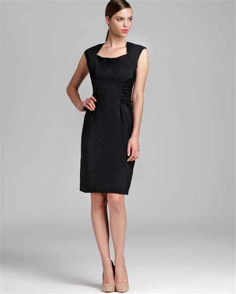 Cap Sleeve Sheath Dress papell sheath dress cap sleeve side ruched in