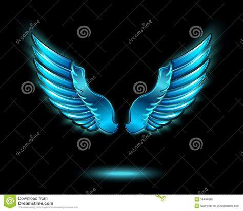 Blauer Engel Farbe by Blue Glowing Wings Stock Vector Illustration Of
