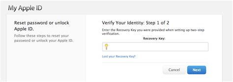 apple recovery losing two factor recovery key could permanently lock