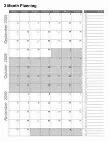3 Month Calendar Template Excel by 3 Month Planning Calendar Excel Calendar Template 2016