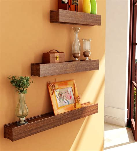 home decor for shelves mango wood wall shelves set of 3 by home sparkle online