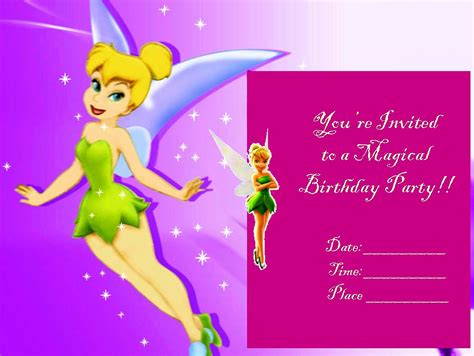 printable invitations tinkerbell tinkerbell invitations template best template collection