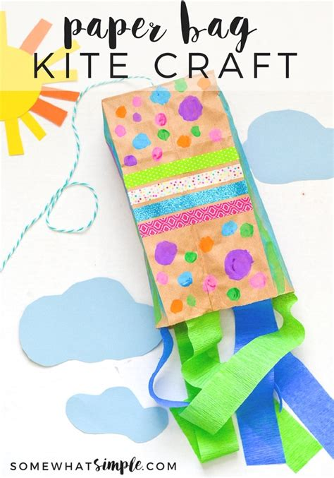 Paper Bag Craft - paper bag kites a craft for somewhat simple