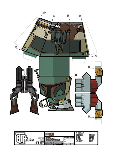 Boba Fett Papercraft - bit series 8 new boba fett sheet by