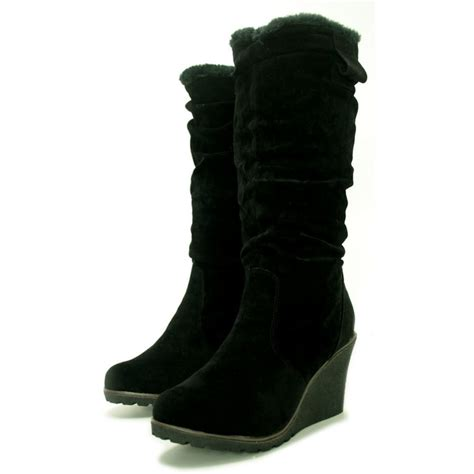 womans wedge boots womens black suede fur style knee wedge heel boots from