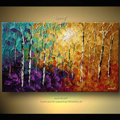 acrylic paint tree original abstract tree painting thick texture of birch trees