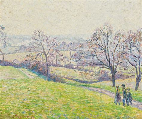 Duvet Linen Epping Landscape Painting By Camille Pissarro
