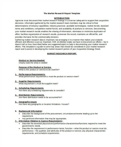 market research document template 8 research report templates free word pdf format