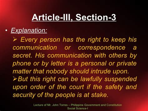 article 3 bill of rights section 6 explanation bill of rights lecture 3