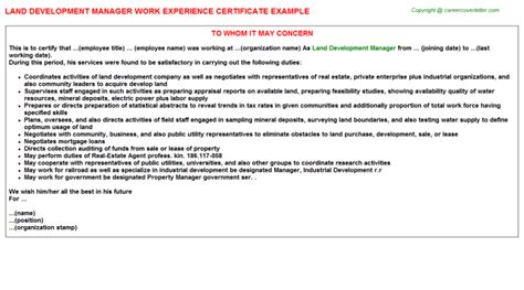 Experience Letter For Business Development Executive Business Development Manager Work Experience Letters
