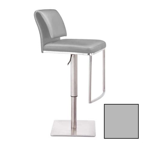 Grey Leather Bar Stool Mobital Neo Light Grey Leather Adjustable Hydraulic Bar Stool Dbs Neo9 Ligr