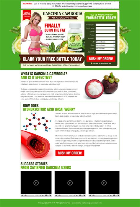 free capture page templates garcinia cambogia weight loss product landing page design