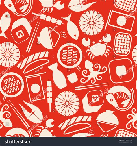 japanese meal pattern japanese food vector seamless pattern on stock vector