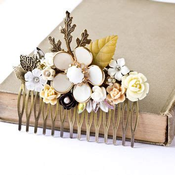 vintage bridal hair comb etsy bridal hair comb vintage white floral from lonkoosh on etsy