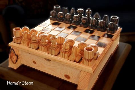 Handmade Chess - handmade chess set with heavy board and built in drawers