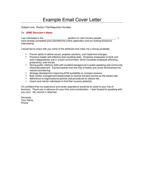 Email Cover Letter With Resume cover letter email sle template learnhowtoloseweight net