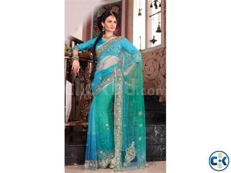 gorgeous blue wedding sari from nabila gulshan clickbd