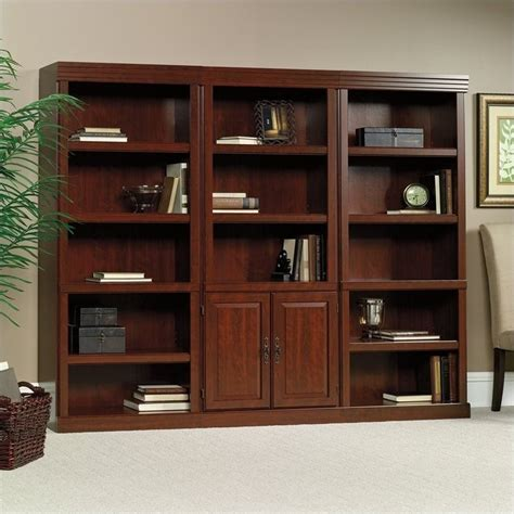 Sauder Heritage Hill Bookcase Heritage Hill 3 Shelves Wall Bookcase With Cabinet In Cherry 102792 Pkg