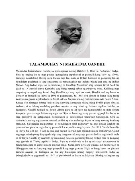 biography of mahatma gandhi tagalog talambuhay ni mahatma gandhi