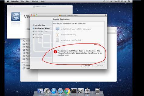reset vmware tools can t install vmware tools mac os 10 7