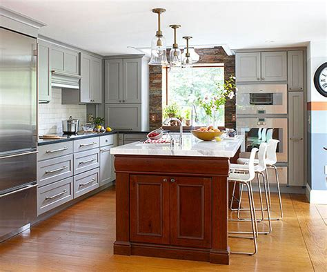 kitchens with islands images contrasting kitchen islands