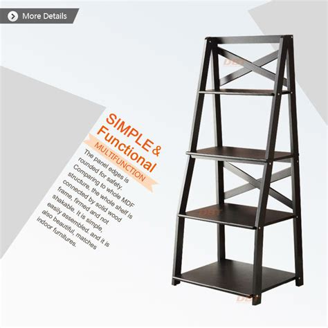 Decorative Wall Ladder by Wall Shelves Espresso 4 Tier Leaning Ladder Living Room