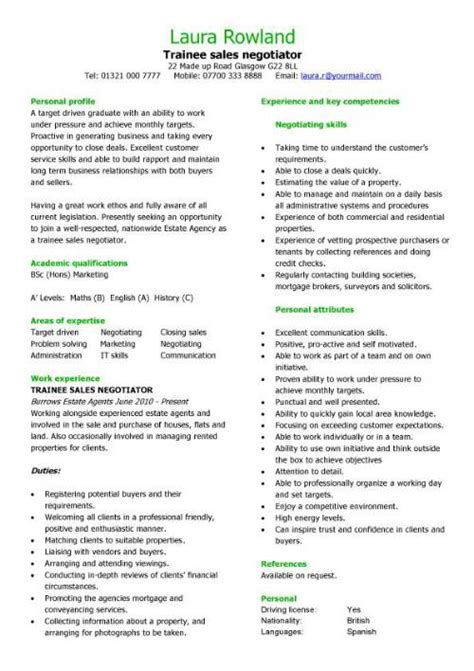 Cover Letter For Lettings Negotiator by Sales Cv Template Purchase