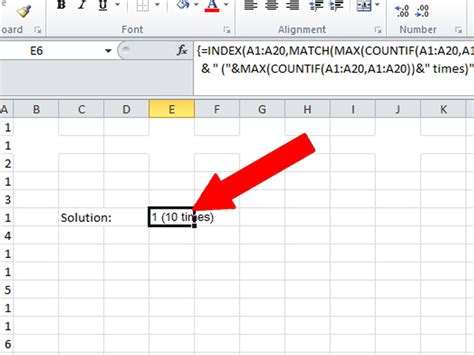 how to calculate the mode of text in excel 2010 4 steps